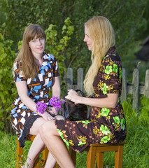 Conversation of rural girlfriends