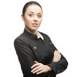 young cheerful businesswoman on white