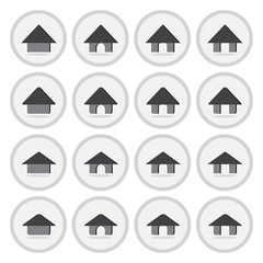 Vector of flat icon, home set on isolated background