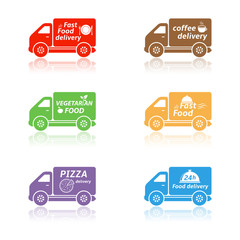 Fast food delivery truck icons