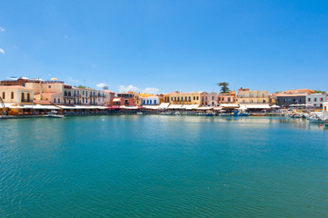 View of the old venetian harbour. Rethymno, Crete. Greece.