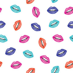 Color seamless pattern of lips