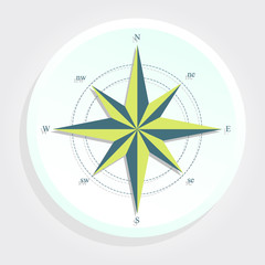 Compass in a white circle