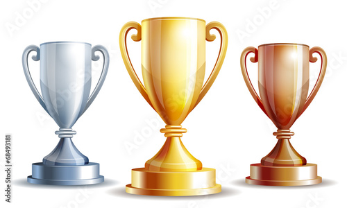 Vector gold, silver and bronze winners cup. - 68493181