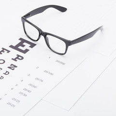 Eyesight test chart with glasses over it - 1 to 1 ratio