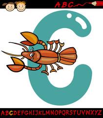 letter c for crayfish cartoon illustration