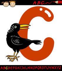 letter c for crow cartoon illustration
