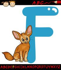 letter f for fennec fox cartoon illustration