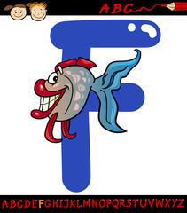 letter f for fish cartoon illustration