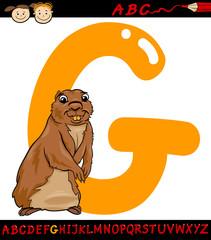 letter g for gopher cartoon illustration