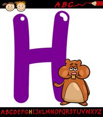 letter h for hamster cartoon illustration