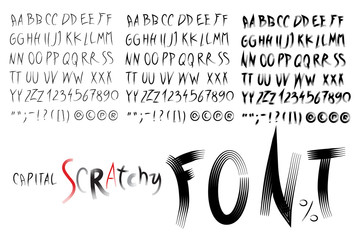 Vector alphabet. Hand drawn letters. Scratchy font .