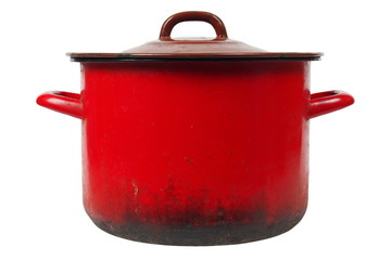 Red kitchen pot