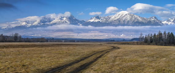 autumn view to high Tatry in Slovakia