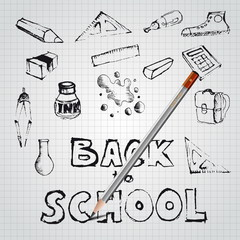 Back to school, drawn by pencil, set of school doodle illustrati