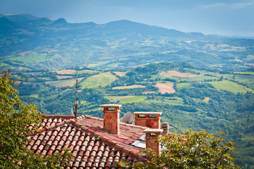 Modern San Marino Suburban districts and Italian hills view from