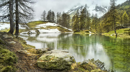 season lake near Breuil-Cervinia in Italy