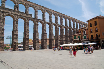 Giant Roman aqueduct in Segovia, Spain