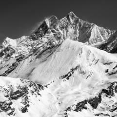 monochrome glacier near Matterhorn in Switzerland