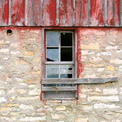 Broken Window on Old Vintage Barn