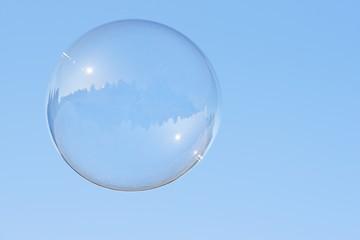 Soap bubble flying