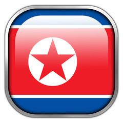 North Korea Flag square glossy button