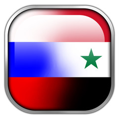 Russia and Syria Flag square glossy button