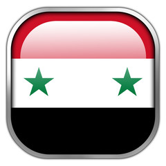 Syria Flag square glossy button