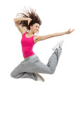 modern slim hip-hop style dancer teenage girl jumping dancing