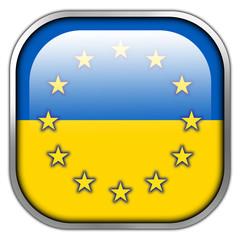 Ukraine and EU Flag square glossy button