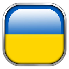 Ukraine Flag square glossy button
