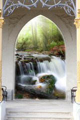 Entering the gate and waterfall