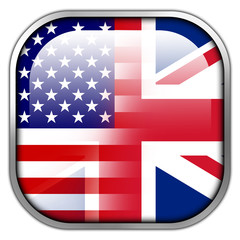 USA and UK Flag square glossy button