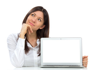 Young business woman with new modern popular laptop keyboard