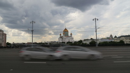 Christ the Savior Cathedral and Daily traffic, Moscow, Russia