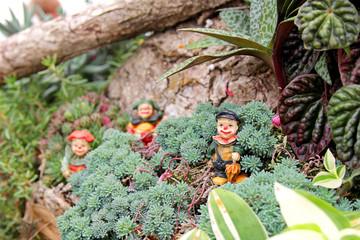 Clown Figures in Miniature Fairy Flower Garden
