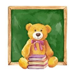 Watercolor illustration. teddy bear and school board. Vector.