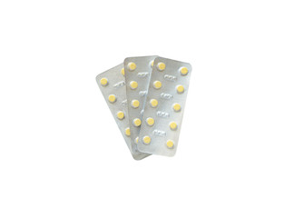medical pills in blister pack isolated on white background