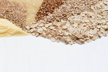 Six cereals on a white background.