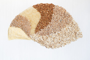 Six cereals on a white background