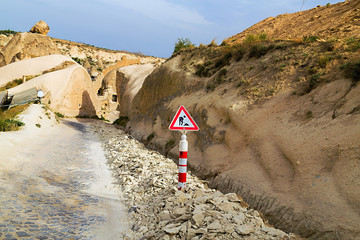 Road Works Ahead Warning Road Sign Cappadocia