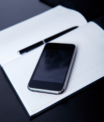 Workplace business person: diary, on the background of the phone