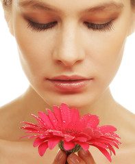 woman with gerber flower