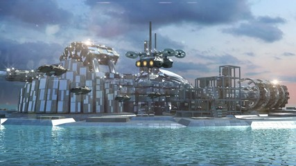 Science fiction city scape with marina and hoovering aircrafts