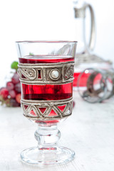 Vintage glass with red wine