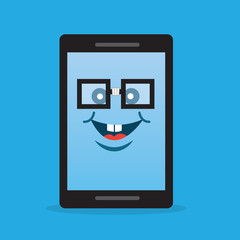 Phone character with nerdy glasses