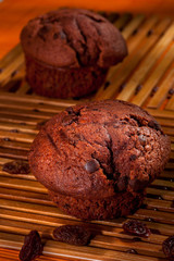 Chocolate chip muffins vertical