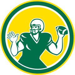 American Football Quarterback QB Circle Retro