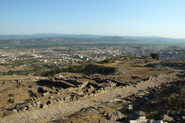 View from ancient greek city of Pergamon of Bergama, Turkey