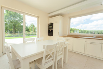 Eating area in bright kitchen